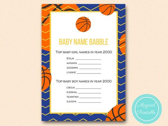 e14883885 Basketball Baby name babble baby name game Baby Shower Game