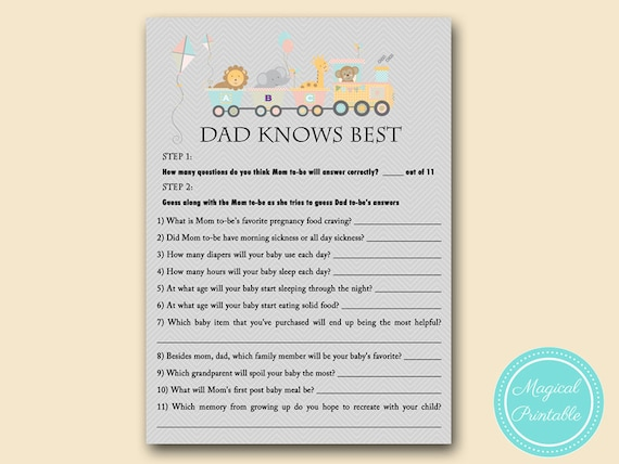 Dad Knows Best How Well Mom Knows Daddy Game Jungle Baby Etsy
