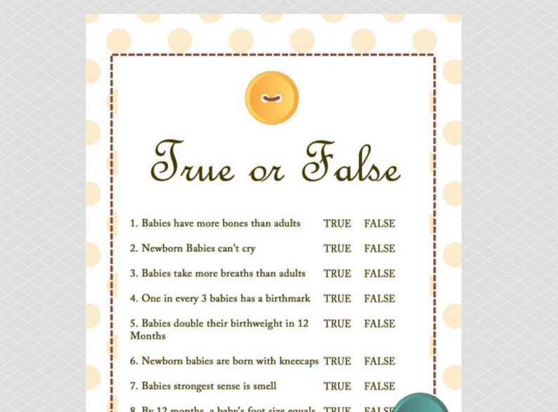 Bedwelming True or False Baby shower Game Cute as a Button Baby Shower   Etsy #LX06