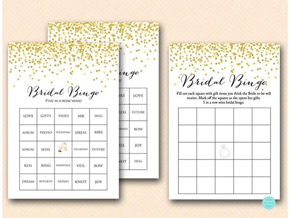 Bridal Bingo Game 50 Bridal Bingo Cards Bridal Bingo Etsy