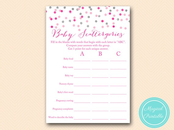 Scattergories Baby Shower Scattergories Game Printable Girl Etsy