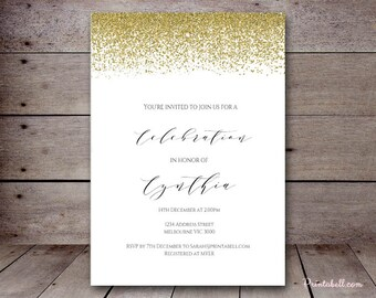 DIY Gold Confetti Custom Invitation, Baby Shower Invitation, Bridal Shower, Birthday Party Invitations, printabell bs46 bs88