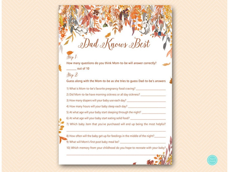 5ad319bfa1429 Autumn Fall Dad knows best baby shower game, Pumpkin Fall Baby Shower  Games, Baby Shower Game Printable TLC548