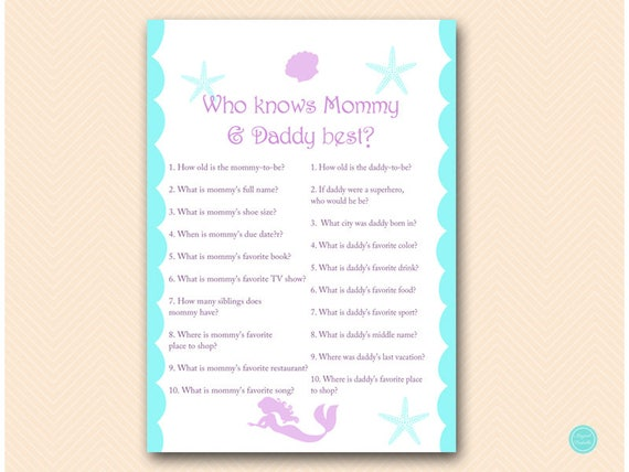 Mermaid Baby Shower Games Who Knows Mommy And Daddy Best Who Etsy
