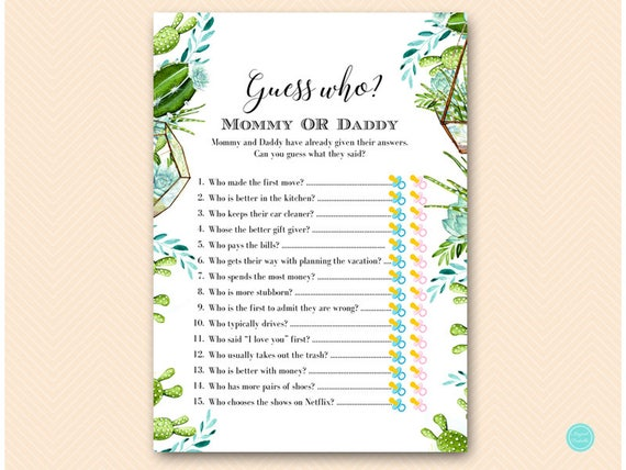 Succulent Mommy Or Daddy Game Guess Who Baby Shower Game Etsy