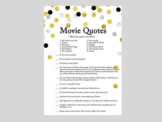 Movie Quote Game Famous Love Quote Quotes From Movie Etsy