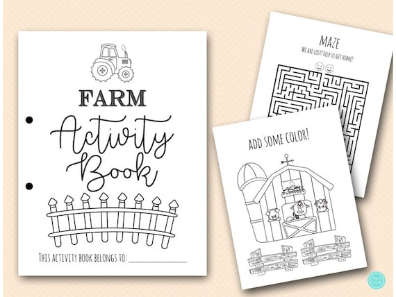 Farm Coloring And Activities Book Pages, Instant Download File, Kids Fun  Book, Farm Birthday Party Gift, Farm Animals Coloring Book BP669j By  Magical Printable Catch My Party