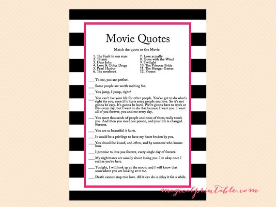 Movie Quote Game Famous Quotes Hot Pink Black White Stripes Etsy