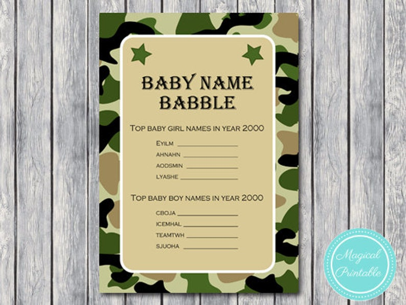 Army Camo Baby name babble, baby name game, Quiz Game, Printable Baby  Shower Game Download, Printable Camo Baby Shower Game, Baby name TLC70