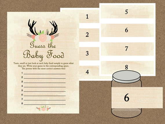 baby food game baby food jar labels sign guess the baby etsy