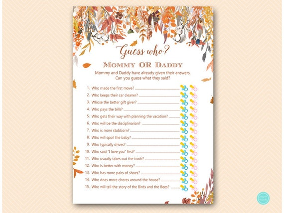 Autumn Leaves Mommy Or Daddy Game Guess Who Baby Shower Game Etsy