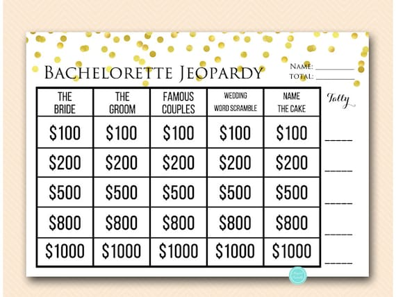 Gold Jeopardy Bachelorette Party Game Who Knows The Bride Etsy