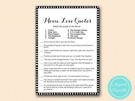 Famous Movie Quote Game Black And White Modern Bridal Shower Etsy