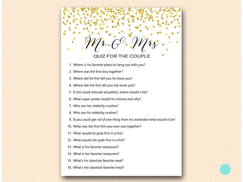 Gold Confetti Mr And Mrs Quiz Who Knows The Bride And