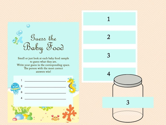 under the sea baby food game baby food jar labels guess the etsy