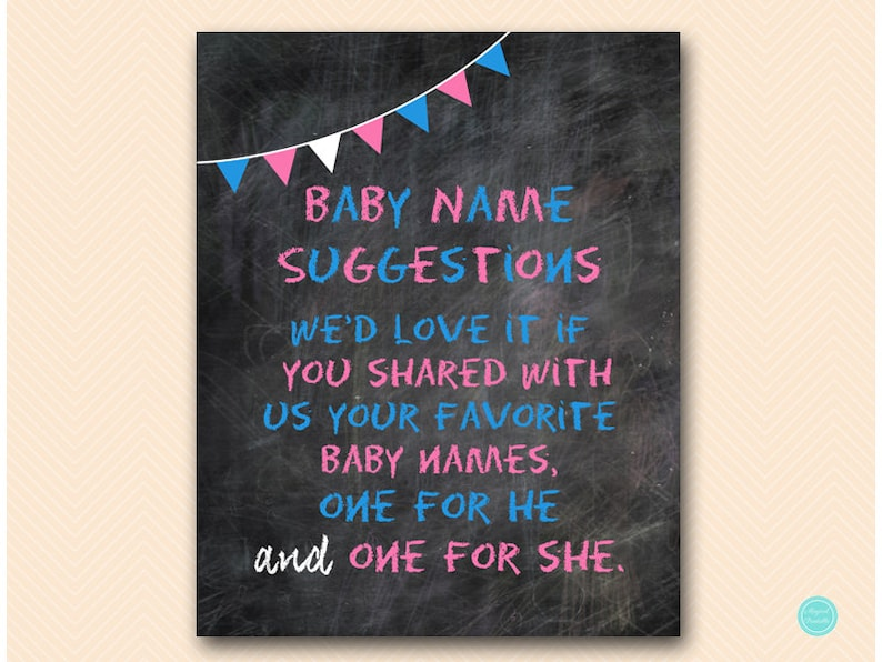 Baby Name Suggestion Sign Gender Reveal Sign Boy or Girl image 0
