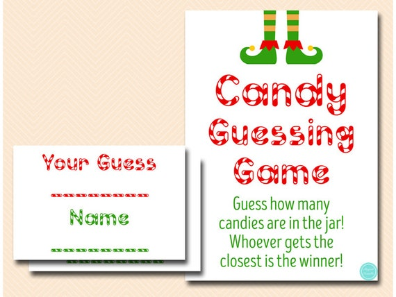 Christmas Candy Guessing Game Printable Guess How Many Candies In Jar Christmas Game Christmas Activity Candy Cane Game Tlc659 By Baby Shower Ideas 4u Catch My Party