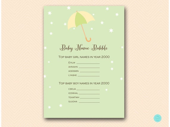 Showered with Love baby shower, Baby name babble, baby name game, Baby  Shower Game Download, Printable Baby Shower Game, Baby name TLC524