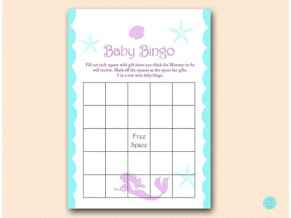Baby Gift Item Bingo Cards Baby Bingo Mermaid Baby Shower Etsy