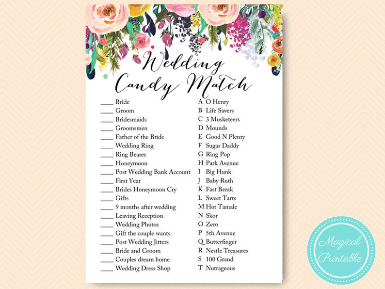 55acd1e4e805a Shabby Chic Bridal Shower Candy Bar Matching Game, Coed, Wedding Shower  Candy Game, Floral Bridal Shower, Wedding Shower BS138