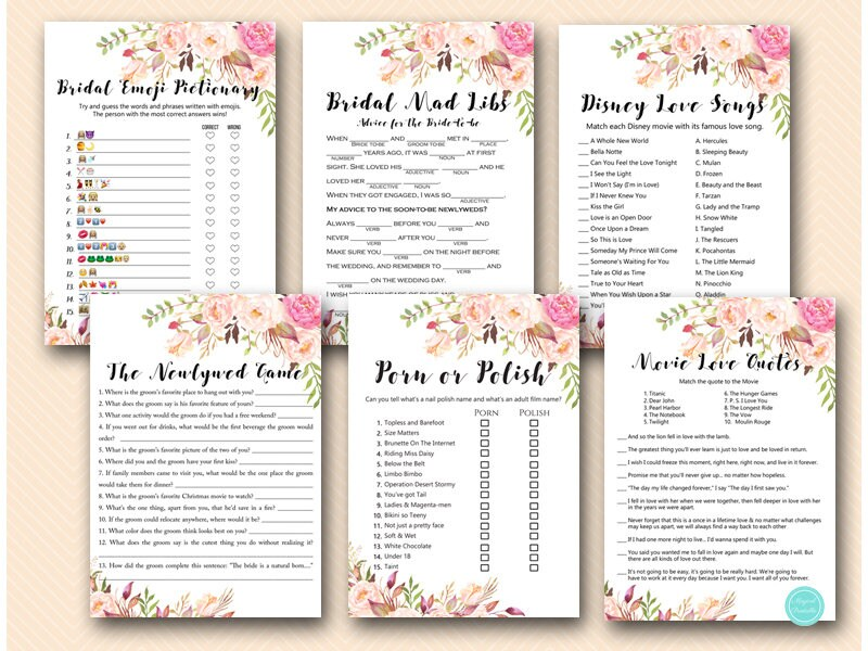 Boho Floral Bridal Shower Games Package, Instant Download, who knows bride,  porn or polish, over or under, would they rather, boho BS546