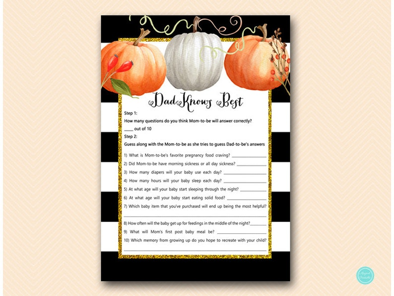 73a9ac6f5b32f Modern Pumpkin Dad knows best baby shower game, Pumpkin Baby Shower Game  Printable, Fall, Autumn Baby Shower Game TLC463