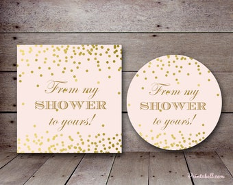 Pink and Gold Bridal Shower Favors, From my Shower to Yours tag, favor tags, Bridal shower favors, Baby shower favor, Thank you TLC526 bs526