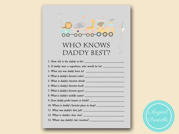 Who Knows Daddy Best Co Ed Baby Shower Game Jungle Baby Etsy