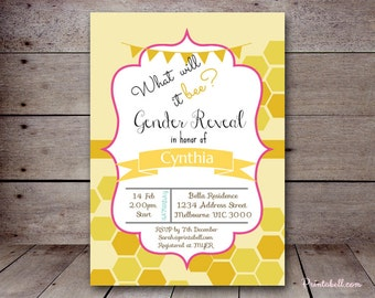 "DIY 5x7"" Editable Invitation, What Will it Bee, Gender Reveal Invitation, Bee Baby Shower Invitation, Honey Bee Bridal Shower Invite TLC417"