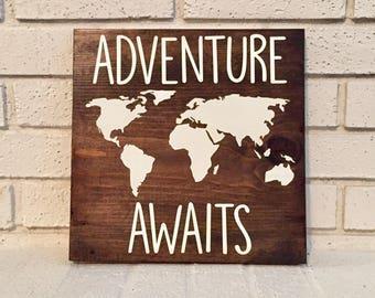Adventure Awaits Sign // Nursery Sign // Travel Sign // Inspirational Sign // Wood Sign // Farmhouse Sign // Rustic Sign // Farmhouse Decor