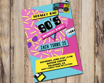 90s invitation Etsy