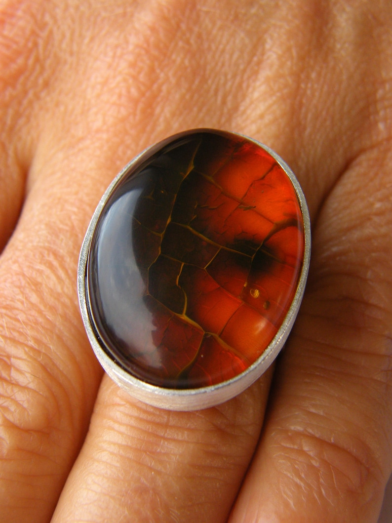 Ring New UNIQUE- Handmade red modern design CAP genuine Amber Ring Cherry Silver 925 giftbox Cognac gift for she Statement