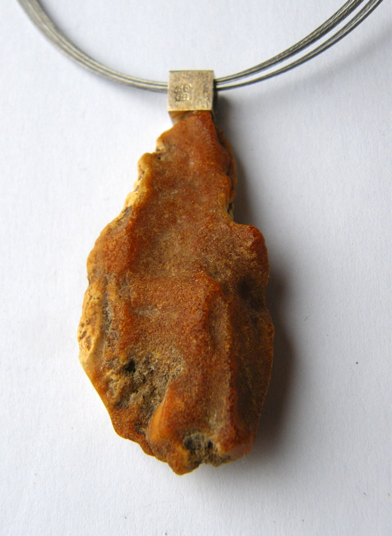 modern design genuine amberstone UNIQUE matte sterling Silver 925 necklace white giftbox,chain,New yellow Handmade Amber Pendant