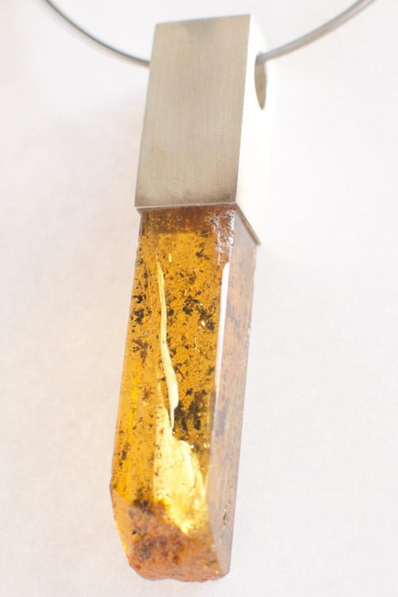 green Silver 925 UNIQUE genuine  amberstone  NEW Amber Pendant Pendant yellow modern