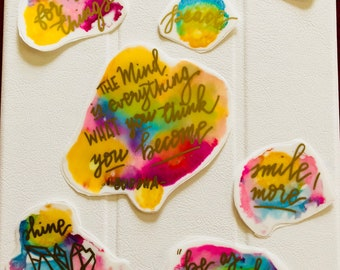 Handmade Planner Abstract Ink Splats Stickers with Golden Quotes