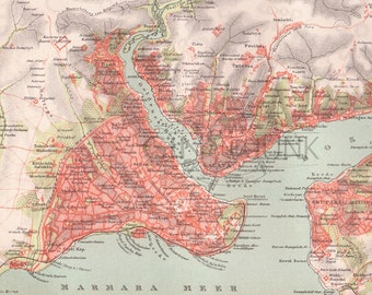 Vintage Map of Constantinople the former capital of the Byzantine and Ottoman empire, print dating from 1890