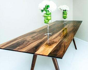 walnut dining table, walnut coffee table,mid century modern living room, dining table, mid mod, walnut kitchen table, American black walnut
