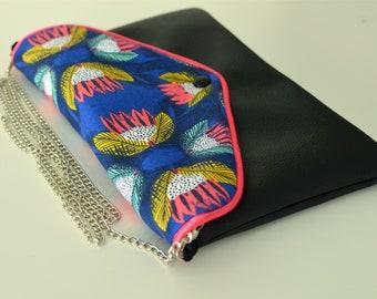 Pink Lolita - bi-material clutch bag