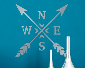 Compass Wall Sticker - Compass Arrows Wall Decal