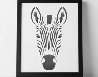 Zebra head stencil | Etsy