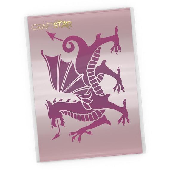 Reusable Mylar A4 Dragon Stencil CraftStar Welsh Dragon Stencil