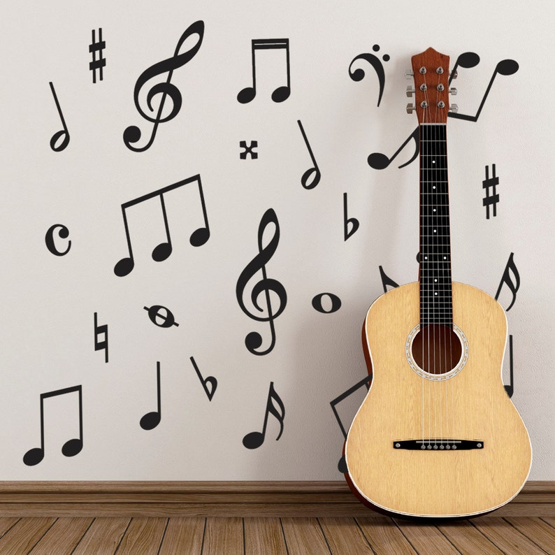 Music Wall Stickers - Pack of 50 Music Symbols Wall Decals