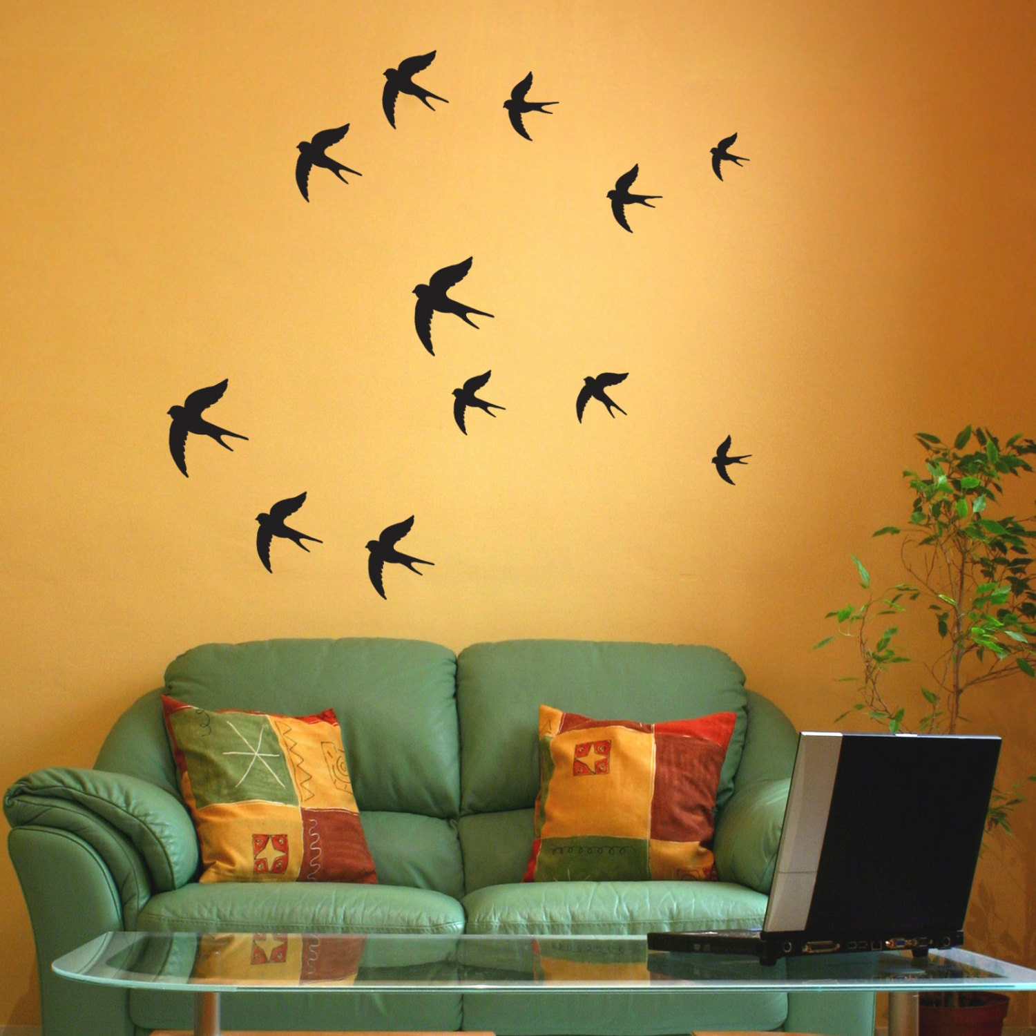 Swallow Wall Stickers Birds wall decal Pack of 12 or 24 | Etsy