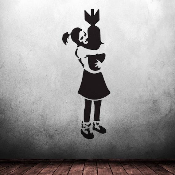 Banksy Bombe Hugger Airbrush Peinture murale Art Pochoir
