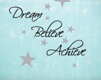 Dream, Believe, Achieve Wall Sticker Pack - Includes 60 silver star wall decals