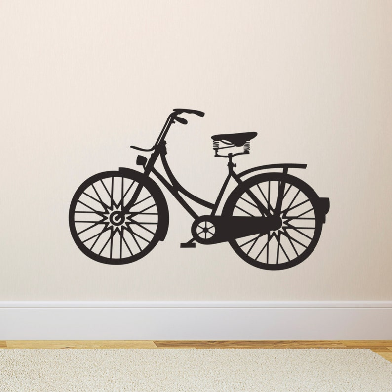 bicycle wall sticker vintage bicycle wall decal | etsy