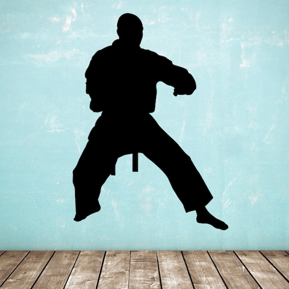 Silhouttes Martial Arts//Karate//Kung Fu x 4 Fighters Wall Art Mural//Transfer