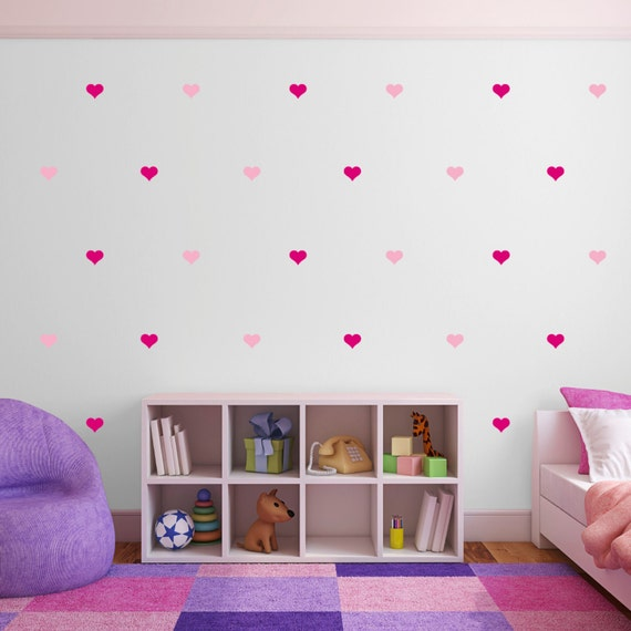 pink heart wall stickers multi pack of 100 decals light & | etsy