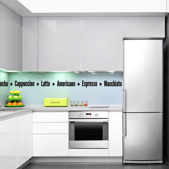 Coffee Names Kitchen Wall Decal Stickers Etsy