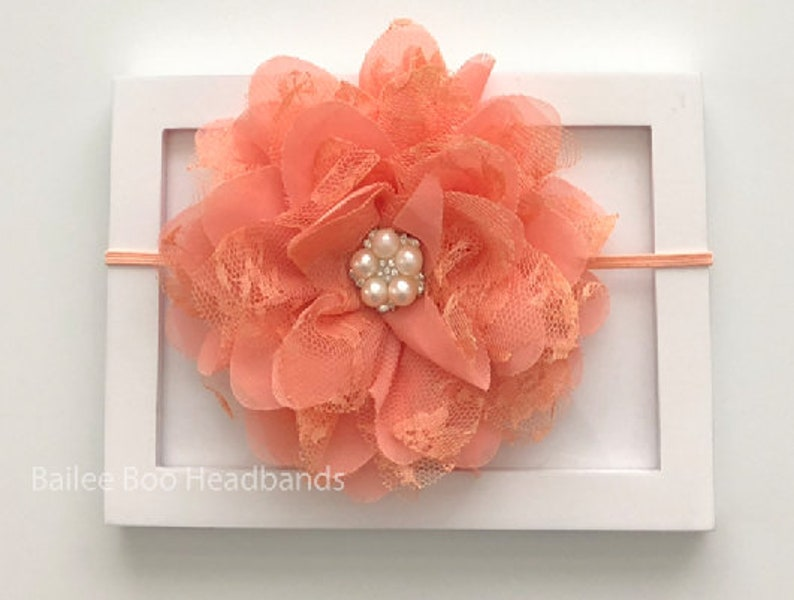 Chiffon Flower Baby Headbands /& Turbans Peach Lace Rhinestone Head band